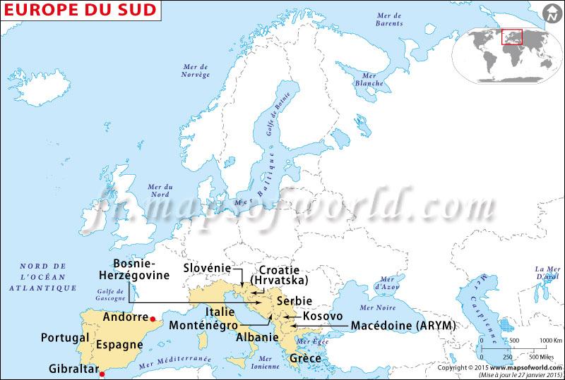 carte europe du sud