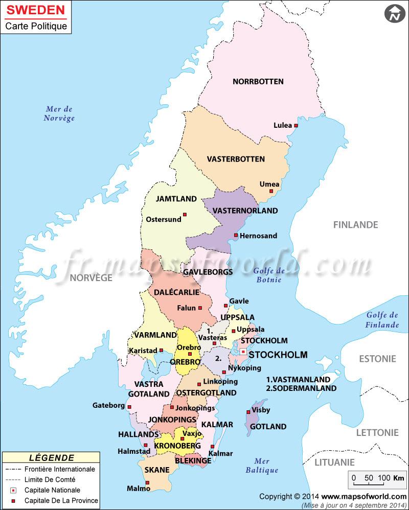 Suède Carte