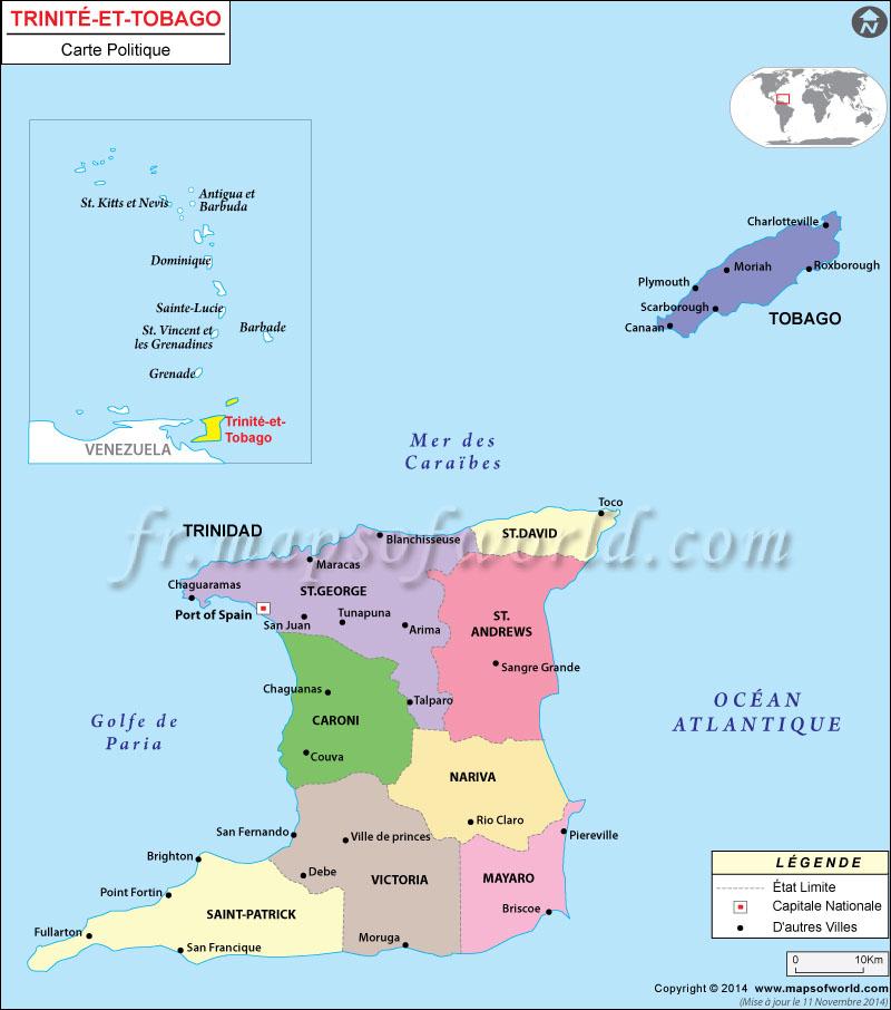Trinidad et Tobago Carte