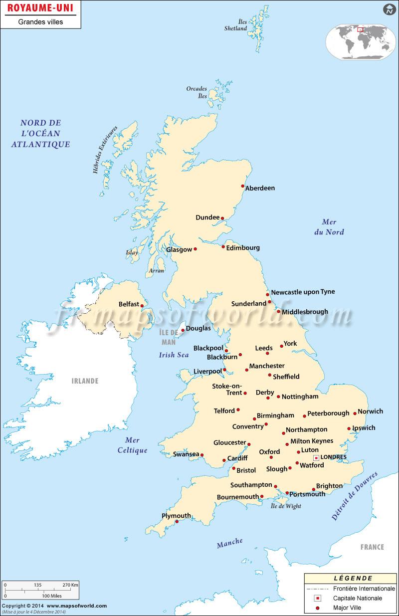 Royaume-Uni Villes Carte