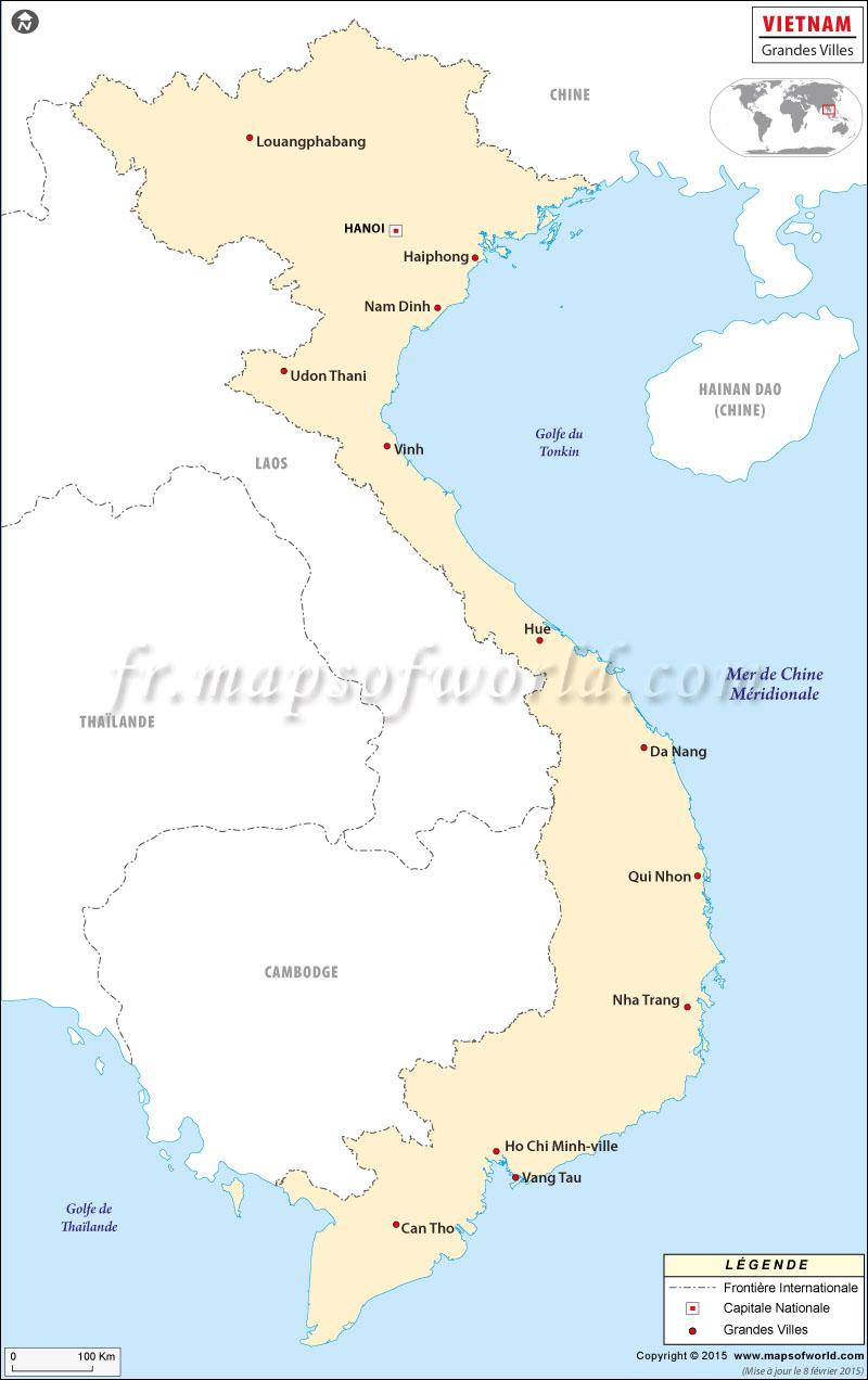 Vietnam Villes Carte