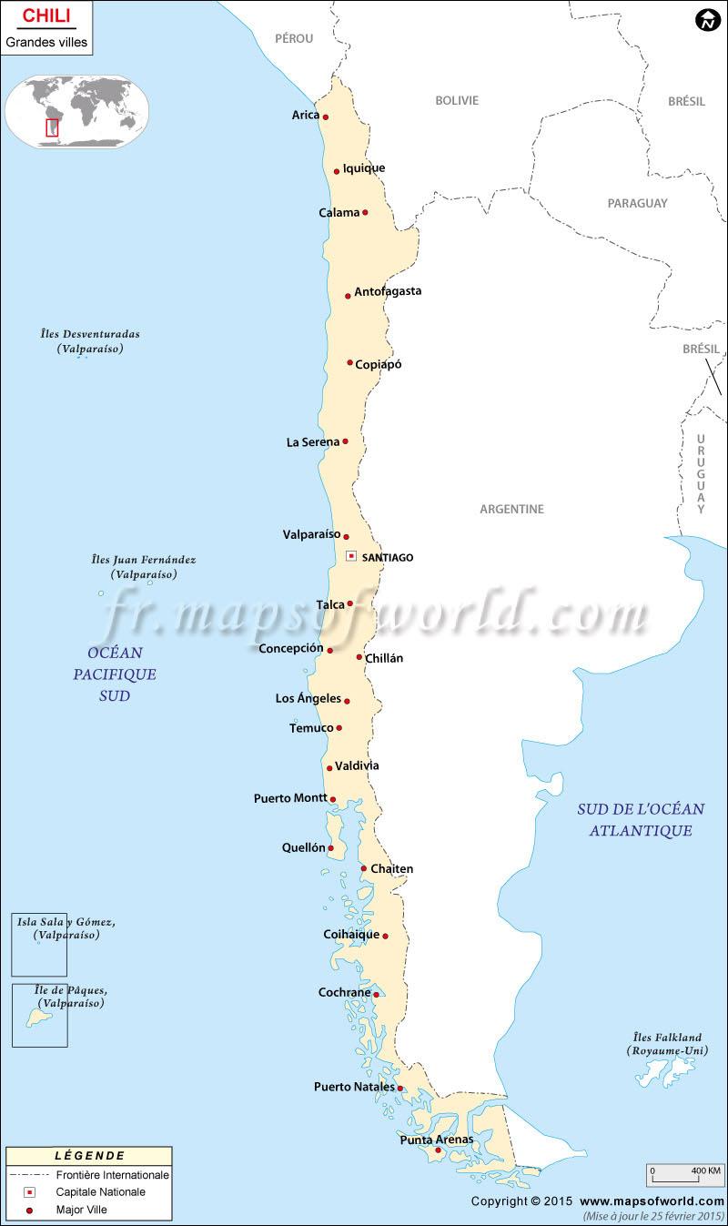 Carte Du Chili Avec Villes