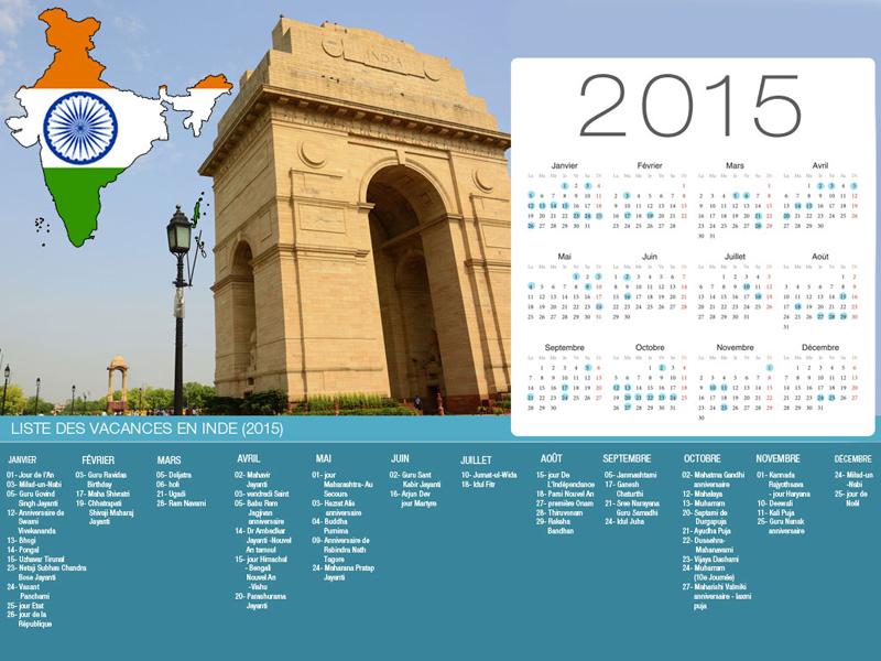 Calendrier de vacances Inde-800x600