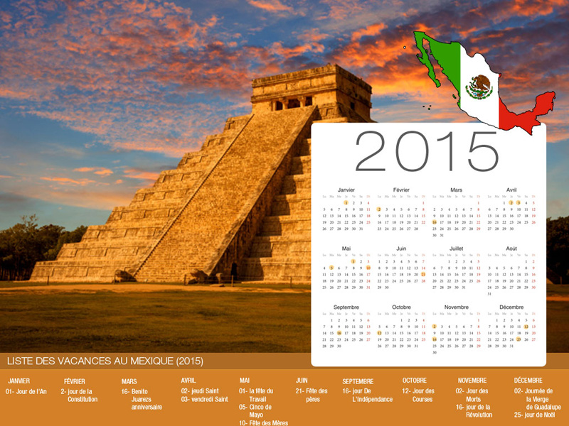 Calendrier de vacances Mexique-800x600