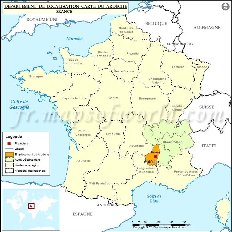 Ardèche Carte de localisation