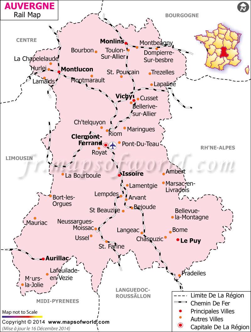 Карта Auvergne (Регион Овернь) достопримечательности, города, парк вулканов, путеводитель