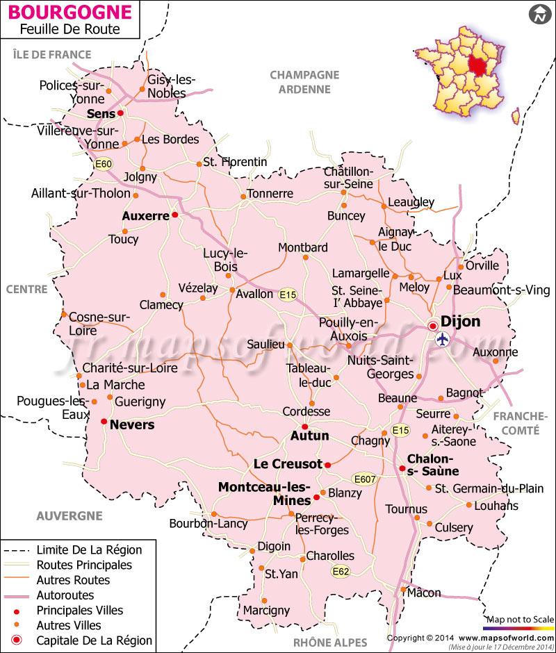 Bourgogne Carte Routière | Carte Routière de la Bourgogne, France