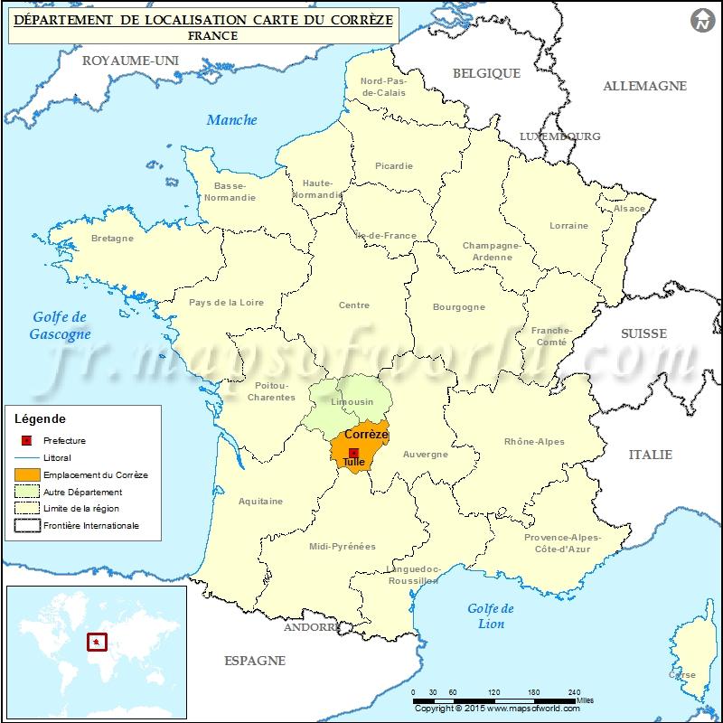 Corrèze Carte de localisation, Département Corrèze, France