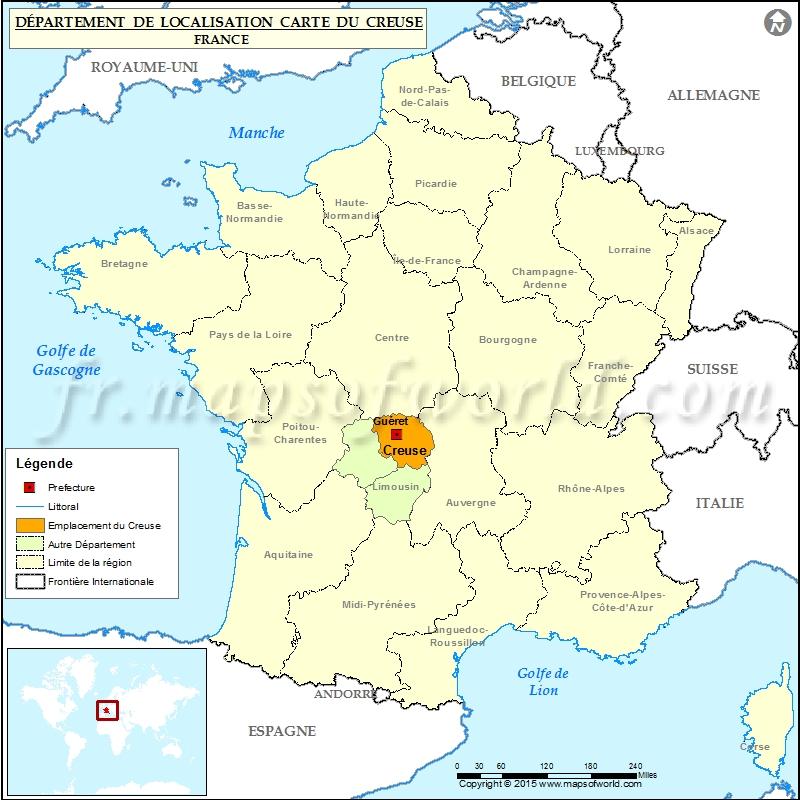 la creuse carte de france Creuse Carte de localisation, Département Creuse, France