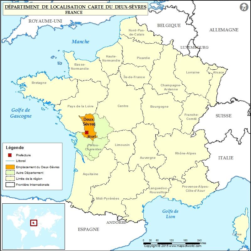 Deux-Sèvres Carte de localisation, département des Deux ...  |Deux Sevres France