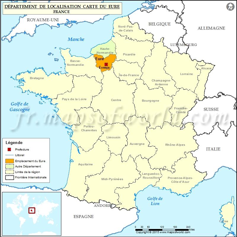 Eure Carte de localisation, Département de l'Eure, France