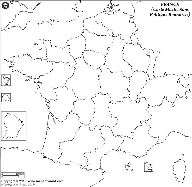 Carte vierge de la France, montrant les limites de la région et les pays voisins