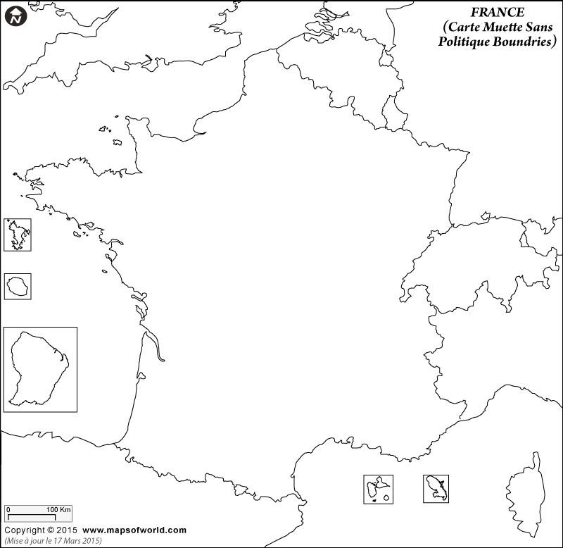Carte vierge de la France avec les pays voisins