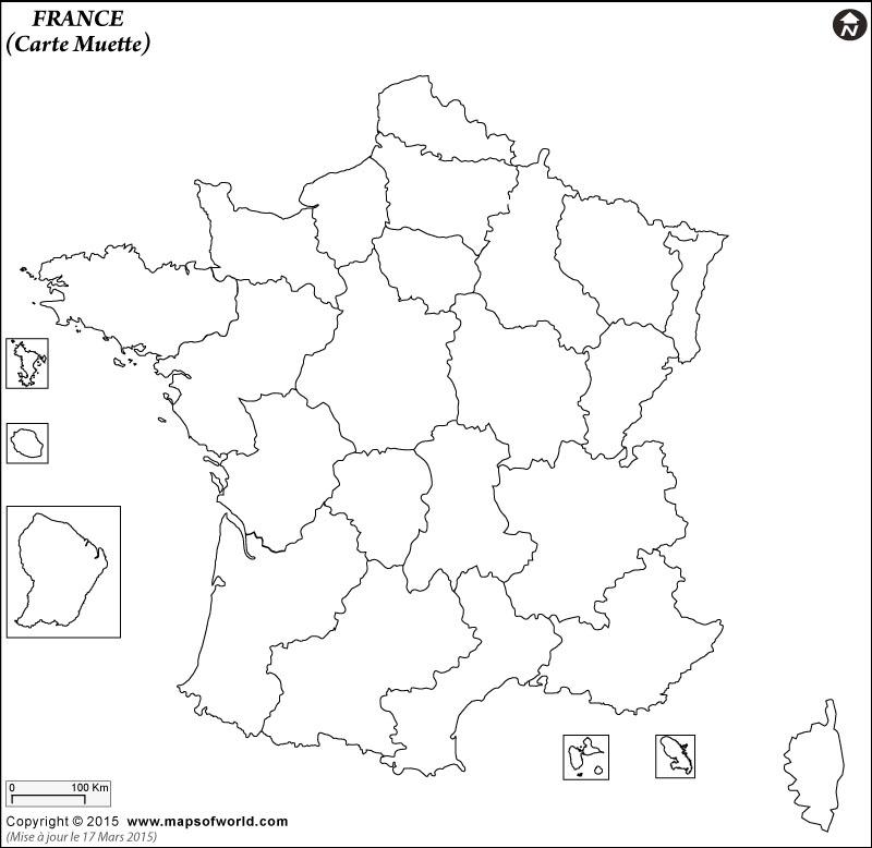 Carte vierge de la France montre les limites Région