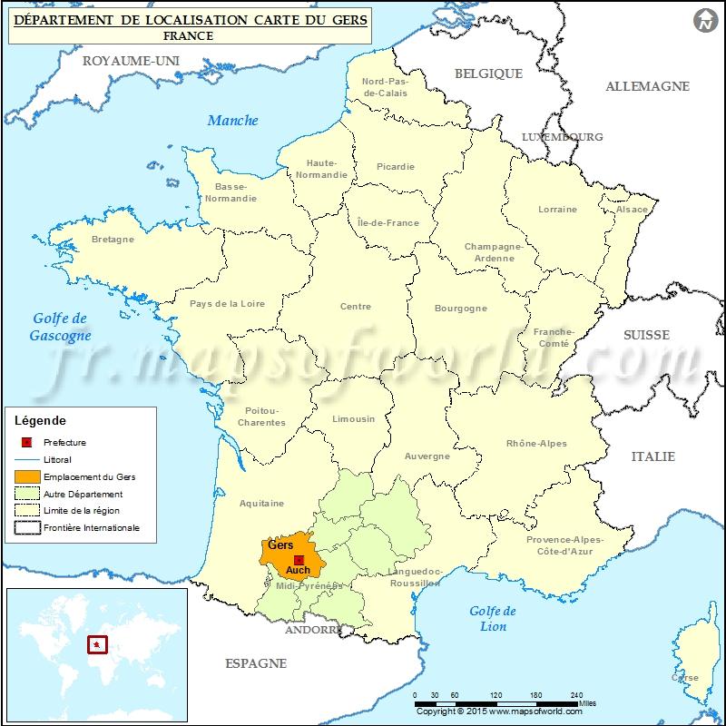 Gers Carte De France Arts Et Voyages