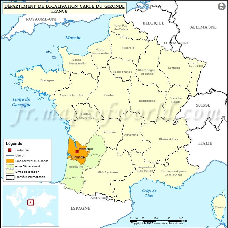 Gironde Carte de localisation, Département de la Gironde, France