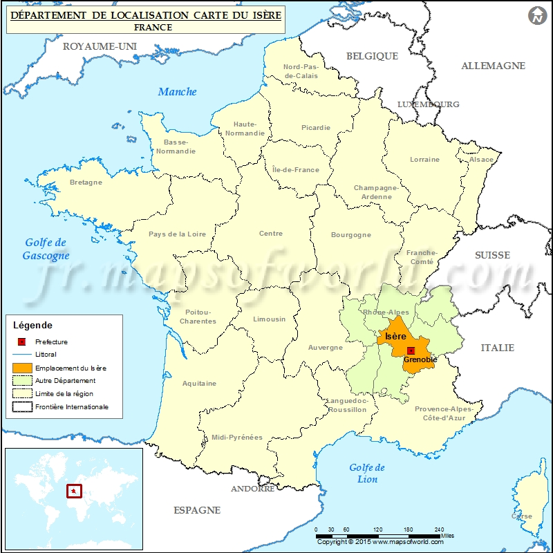 Is re carte de localisation d partement de l 39 is re france for Superficie grenoble