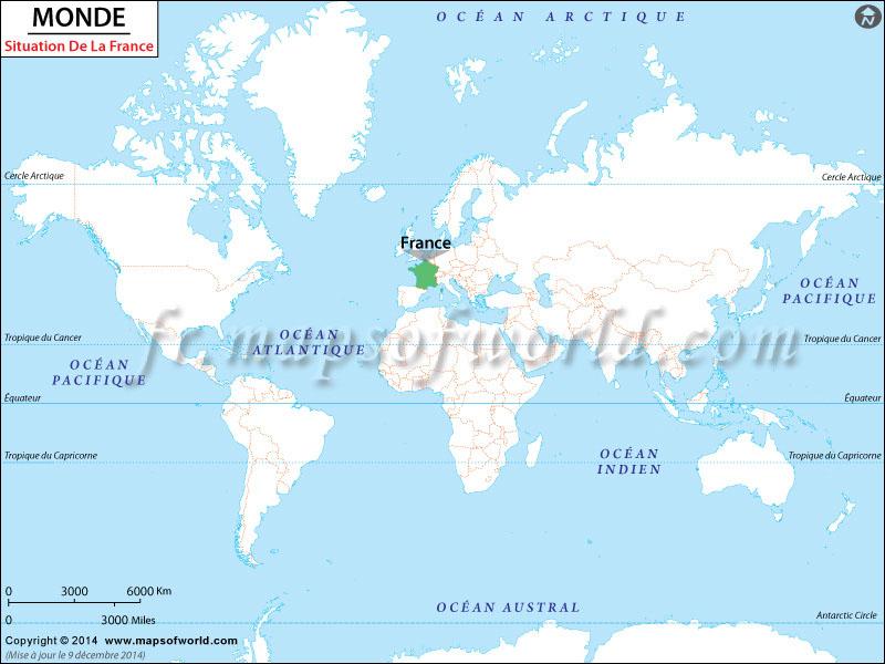 France Emplacement dans Carte du Monde