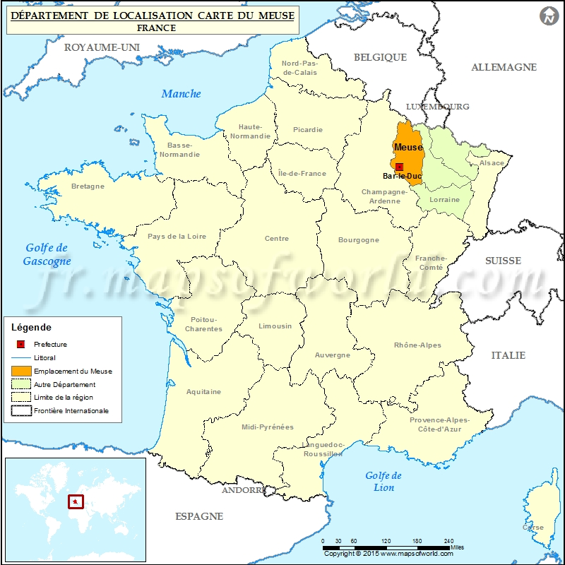carte de localisation de la meuse d partement meuse france. Black Bedroom Furniture Sets. Home Design Ideas