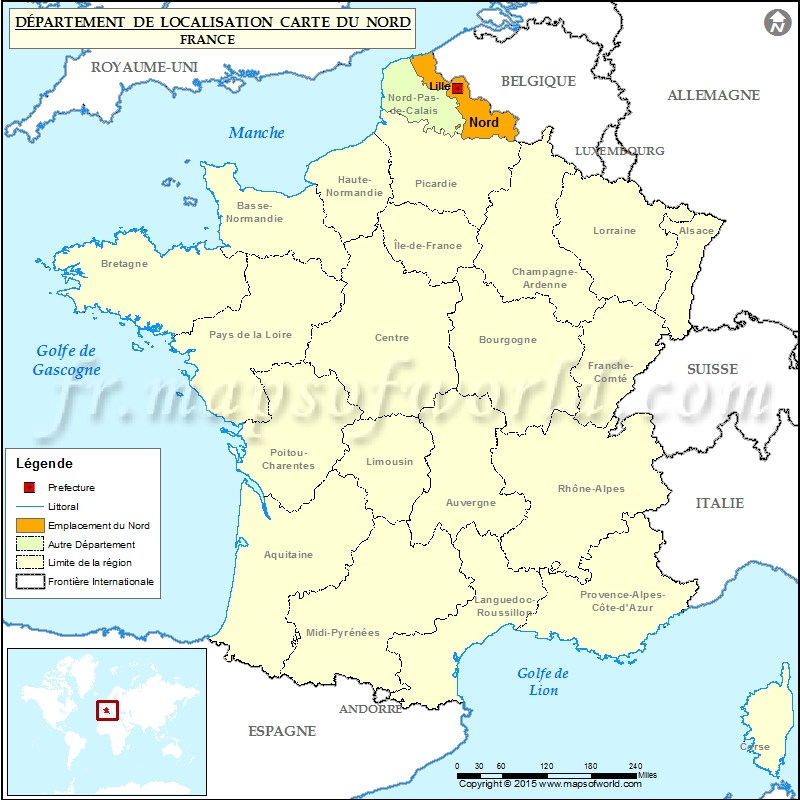 carte de localisation nord nord d partement france. Black Bedroom Furniture Sets. Home Design Ideas