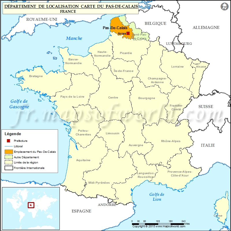 Carte de localisation de Pas-de-Calais