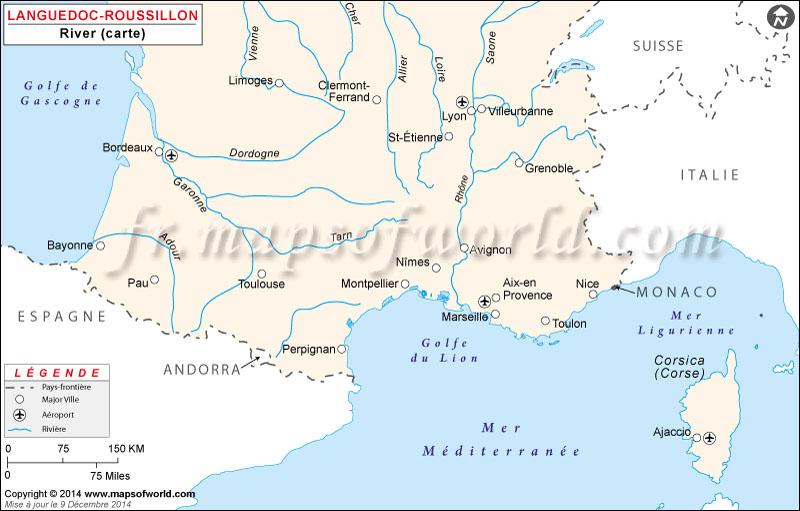Sud de la France Rivière Carte