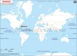 Carte de localisation du Bahamas sur la carte mondiale