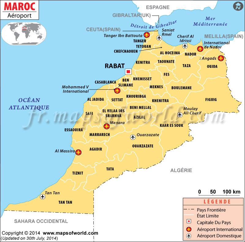 aéroport Maroc carte