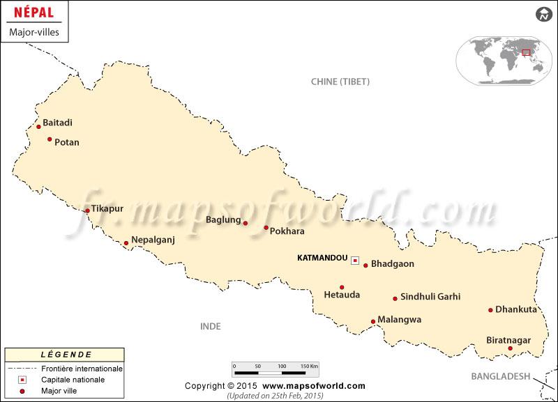 Népal majeur Cities Carte