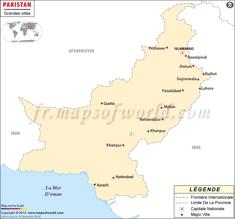 Pakistan Villes Carte
