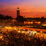 La place Jemaa el Fna à Marrakech, au Maroc.