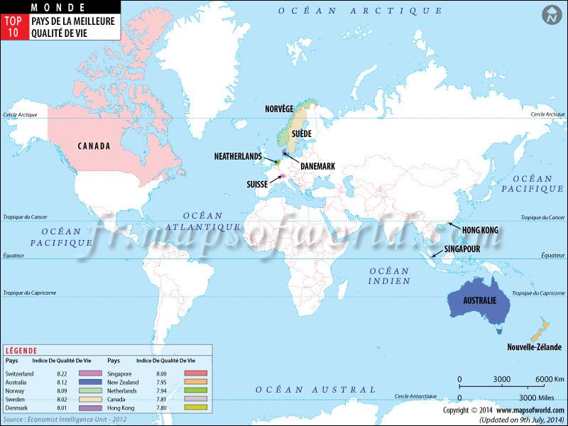 les pays par niveau de vie la plus haute qualit de vie